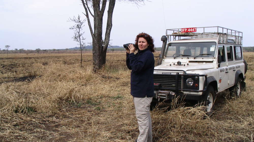 Nathalie Pettorelli in the Serengeti.