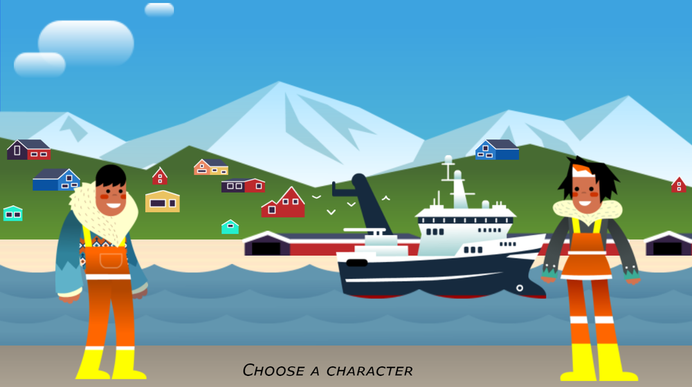 Screenshot of the character selection screen for the Tricky Trawl game