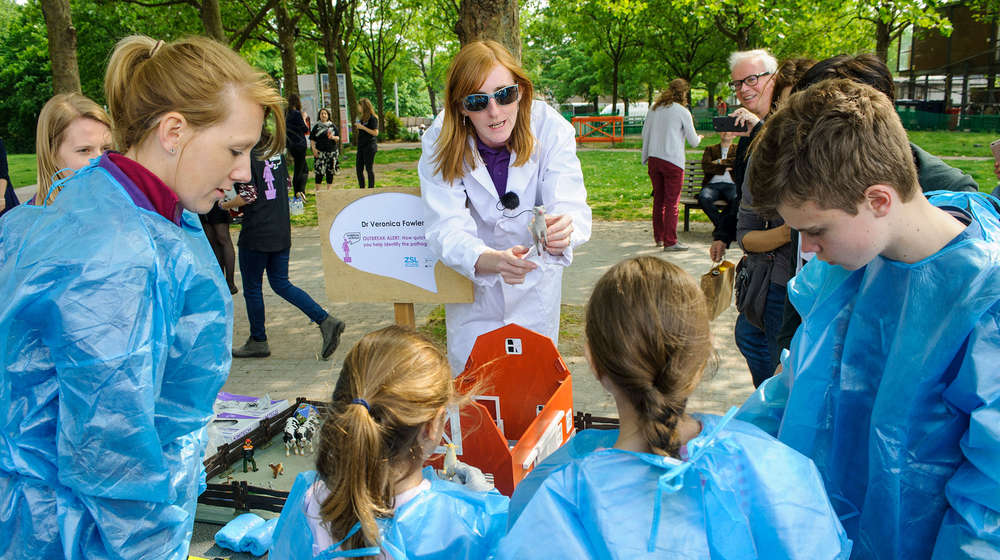Dr Veronica Fowler at a soapbox science event