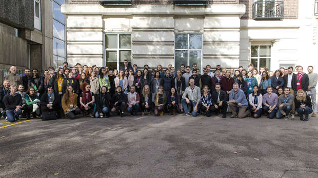 Group photo of the Institute of Zoology staff outside the Nuffield building