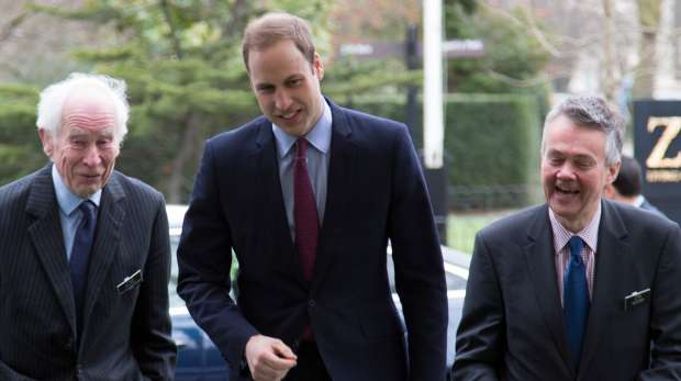 The Duke of Cambridge arrives at ZSL and is met by Ralph Armond and Sir Patrick Bateson.