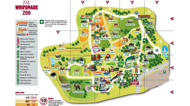 Map of ZSL Whipsnade Zoo