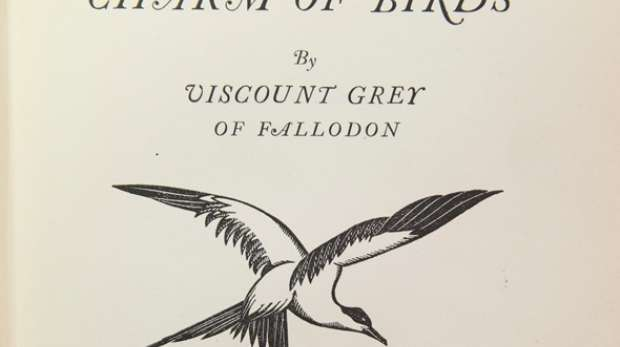 Title page of `Charm of birds' by Viscount Grey of Fallodon with a woodcut illustration by Robin Gibbings, published 1927