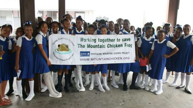 School children in Dominica after outreach presentation for Mountain Chicken Frog Project