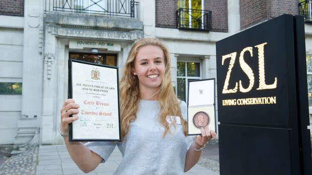 Carly Brown, Taunton School, was awarded the ZSL Prince Philip Award and Marsh Prize