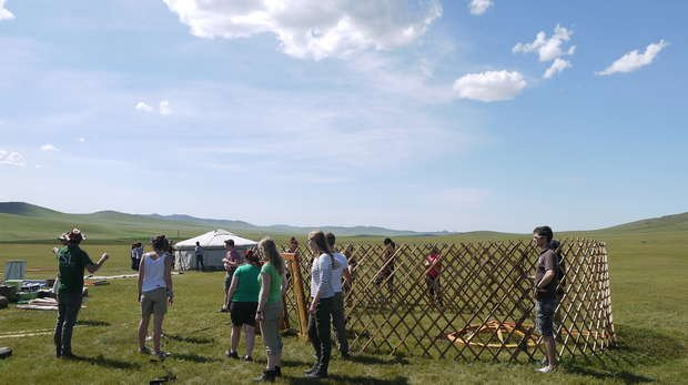 Setting up the Gers on 2014 Mongolia Summer Field Course