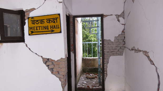 Earthquake-damaged guard post building in Shivapuri Nagarjun National Park, Nepal.
