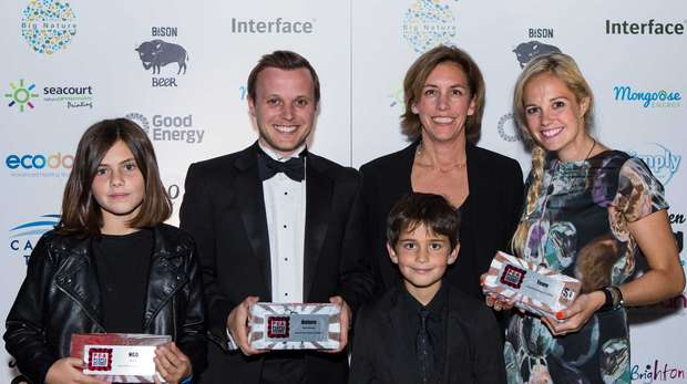 ZSL's Fiona Llewelyn at P.E.A. Awards with Blue Marine Foundation's Clare Brook and RSPB's Jonathan Hall, along with Clare's two children Lucy and Sam.