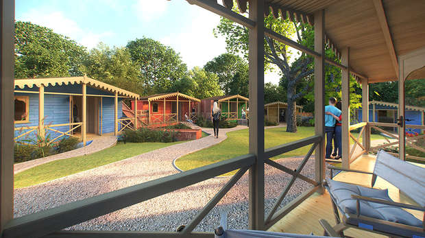 Gir Lion Lodge veranda - artist's impression