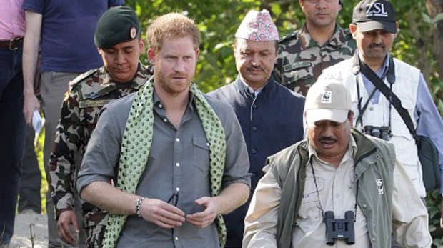 Prince Harry in Nepal with Dr Hem Baral