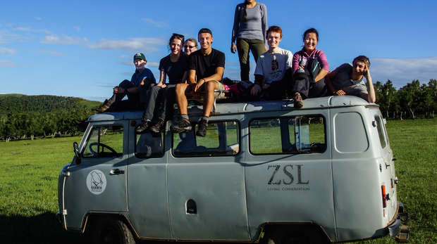 Students from the Mongolia Summer Field Course 2015 sitting on the ZSL vans