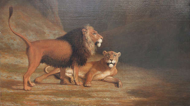 Agasse painting 'Lion and a Lioness in a Rocky Valley'