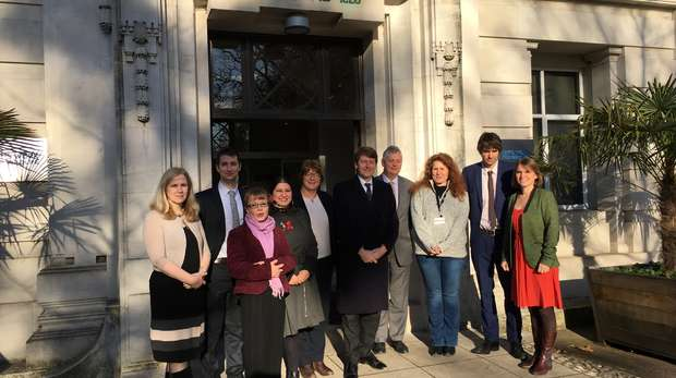 The meeting attendees stand outside ZSL, where the discussion over the place of nature and the environment post-brexit was held at ZSL