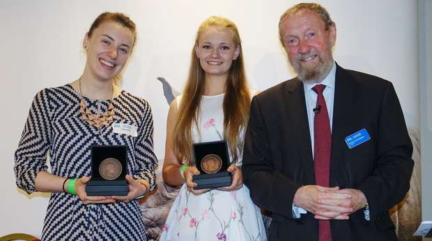ZSL President Professor Sir John Beddington with winner Sacha Eyles Owen