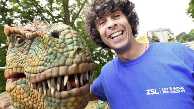 Andy Day and Rosie the raptor