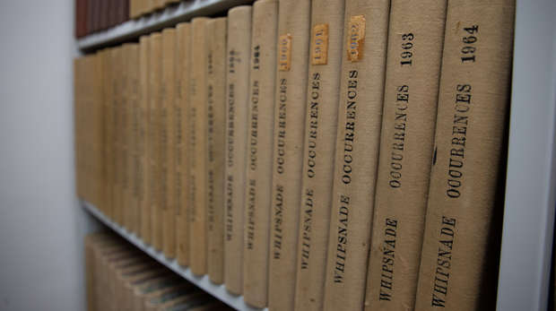 Photo of volumes of Whipsnade Occurrences on a bookshelf