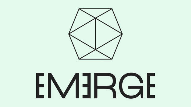 Logo for the Emerge festival - line drawing of a prism on a mint green background