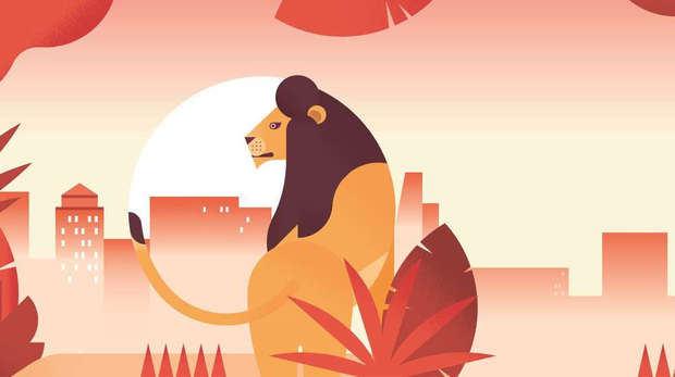 Graphic illustration of Zoo Nights poster featuring lions