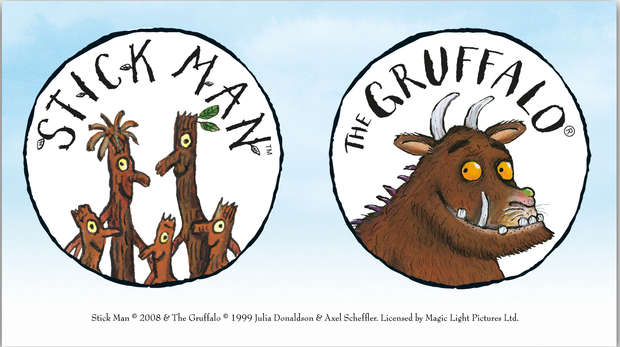 Stick Man Gruffalo logos on green background