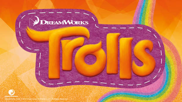 Trolls logo on orange rainbow background