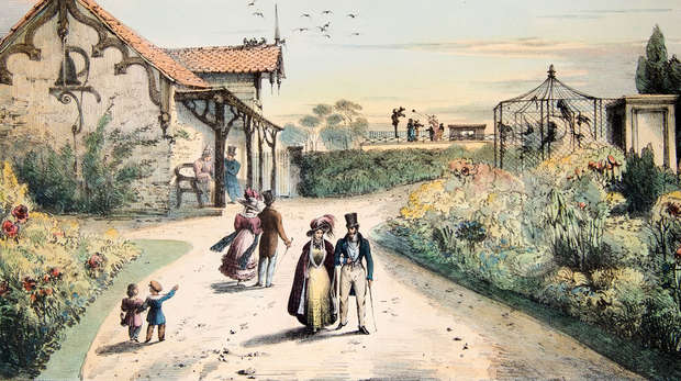 Illustration of people walking through London Zoo in 1831