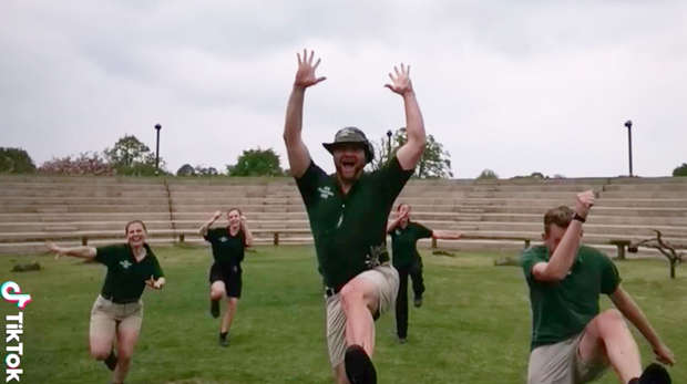 Zookeepers dancing at Whipsnade Zoo