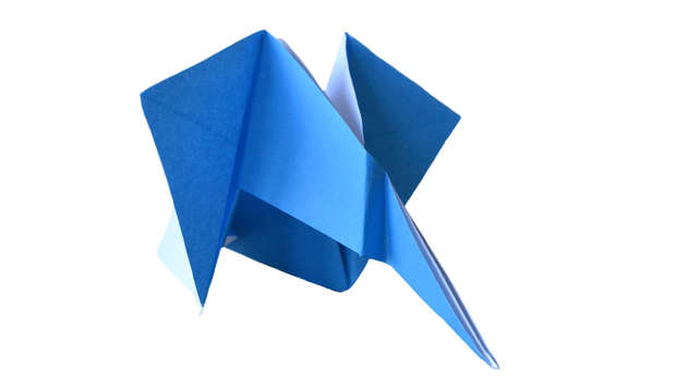 elephant origami in blue