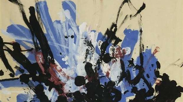 Abstract painting in mainly black, blue, white and black with the colours radiating from a black central point.