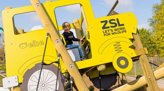 A little boy on the mini safari jeep in Hullabazoo Adventure Play at ZSL Whipsnade Zoo