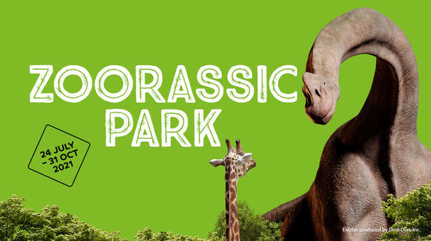 Brachiosaurus towering over a giraffe on a bright green background with ZOORASSIC PARK title above