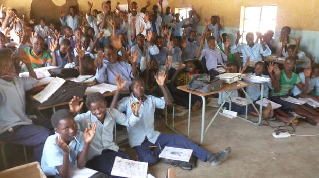 Students at Chifunda School, happy and ready for their lesson