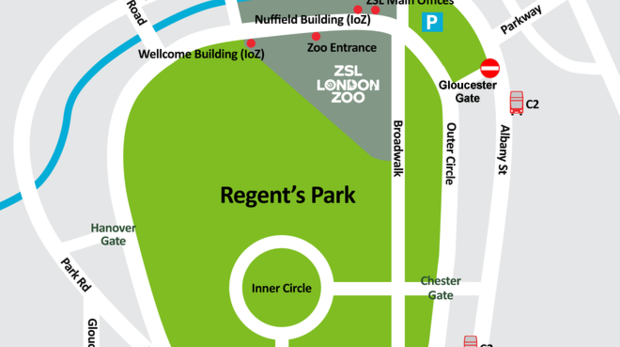 Map of the area surrounding ZSL London Zoo