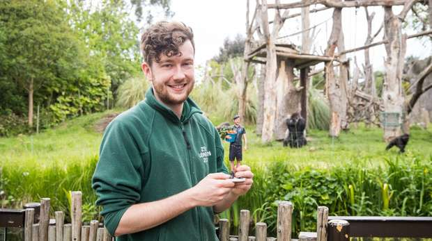 Gorilla keeper David with his model in Gorilla Kingdom