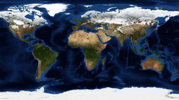 NASA blue marble Earth map February, blue marble next generation w/ topography and bathymetry
