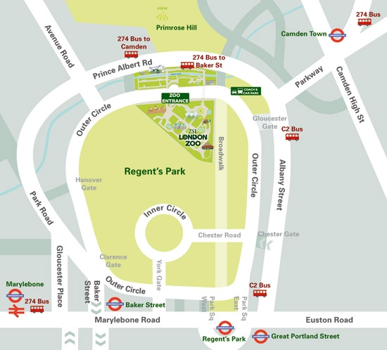 London Zoo Directions Map
