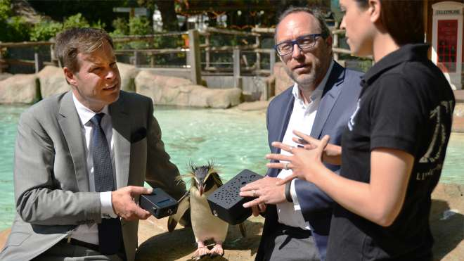Peter Jones and Jimmy Wales at Penguin Beach