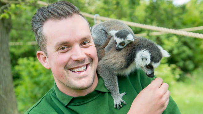 Keeper Graeme with lemurs