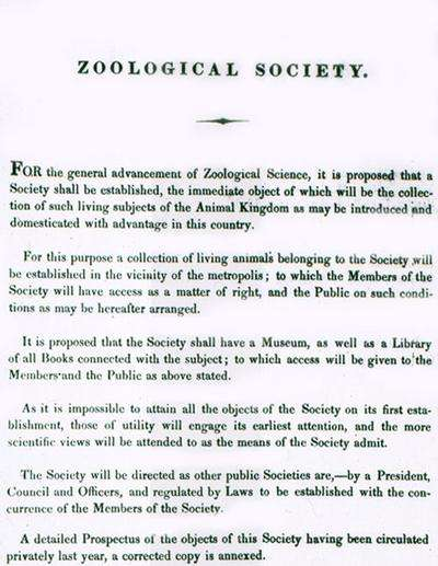 Title page of a prospectus from 1825 to encourage people to join the proposed Zoological Society of London