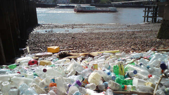 Plastic pollution by the Thames - Copyright Thames21