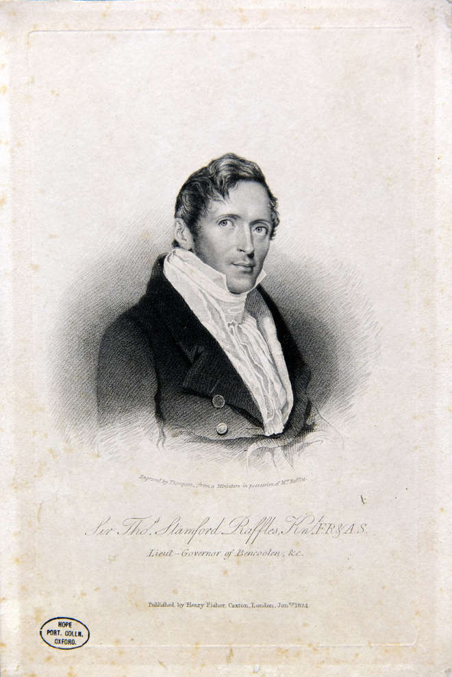 Black and white engraving of ZSL founder Sir Thomas Stamford Raffles
