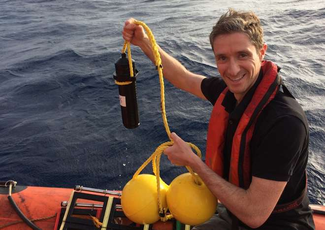 David Jacoby with an acoustic release receiver used for tracking sharks