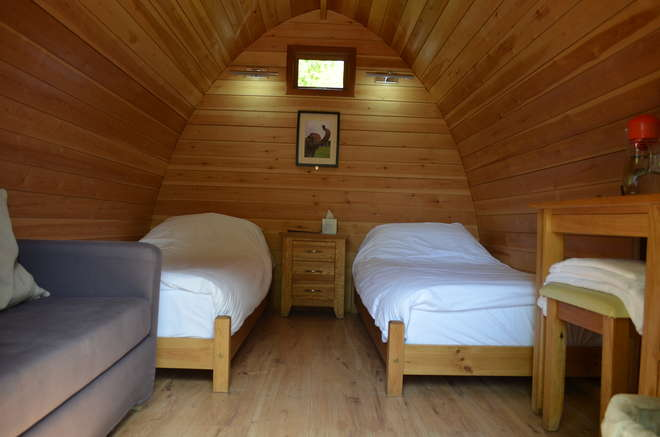 Interior view of a twin lodge