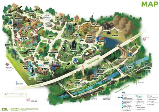 Map of ZSL London Zoo