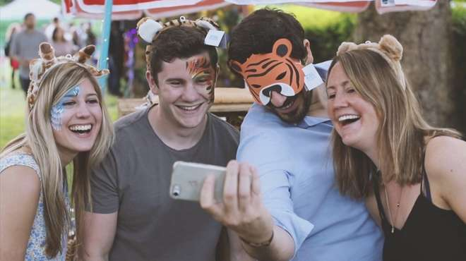 Animal masks selfie at Zoo Nights