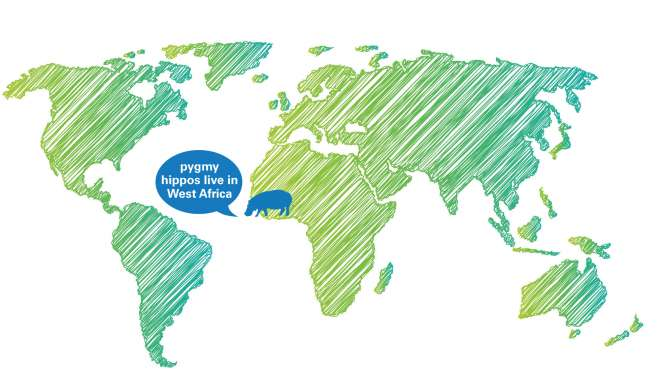 A map of where pygmy hippos live in the world.