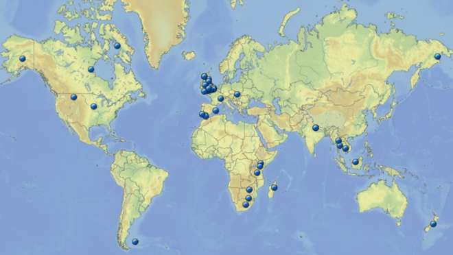 WAB Research project locations 2003-2014