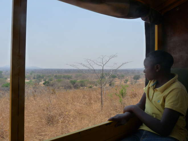 A student looks out of the open window, the African bush can be seen in the distance
