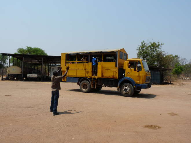 The large, bright yellow, Lolesha Luangwa truck