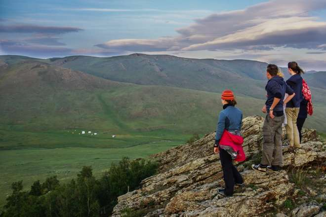 Students on the ZSL Mongolia Summer Field Course look out at the view
