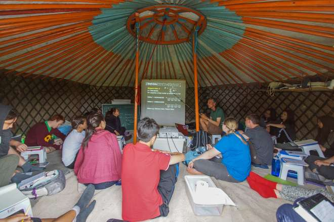 Lectures taking place in a ger in the ZSL Summer Field Course 2015